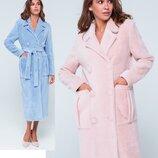 Двубортное пальто женское из эко-меха длинное пальто Скарлетт eas-234 жіноче голубое и розовое