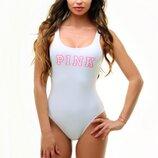 Спортивный слитный закрытый купальник с надписью Pink белый цвет в наличии размер Хs, M Польша