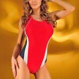 Спортивный слитный закрытый купальник красный цвет в наличии размер Хs, S Польша