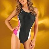 Спортивный слитный закрытый купальник черный цвет в наличии размер L, XXL Польша