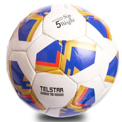 Мяч футбольный 5 Telstar 0714 размер 5 PU, сшит вручную