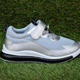 Стильные детские кроссовки аналог найк Nike серебро р32-37