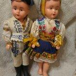 Пара. Кукла антикварная, похоже на целулоид колкий пластик, винтажная кукла гдр, дефекты,старые игру