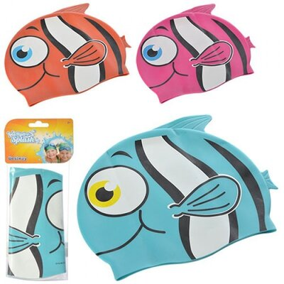 BW Шапочка 26025 для плавания в форме рыбки, 21-17,5см, 3 , 3 цвета, в кульке, 11-26см