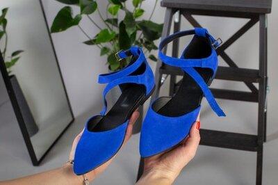 Замшевые синие босоножки с закрытым носком 36-40 р.