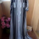 Длинное платье в полоску из натур ткани р.с,м,л,хл,ххл