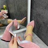 Женские натуральные замшевые открытые туфли босоножки с ремешком Цвет пудра Натуральная замша