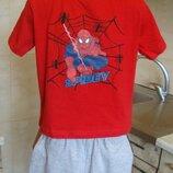 костюм красно-серый футболка шорты Marvel 110/116 4-6 лет 100%котон