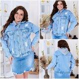 куртка Куртка женская Китай Ткань джинс котон стрейч Цвет голубой с белым капюшоном