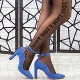 Туфли, натуральная замша, с ремешком, голубые