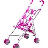 Коляска - трость для куклы Цветы , коляска тросточка розовая металлическая