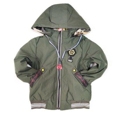Демисезонная детская двусторонняя куртка для мальчика шнурки хаки 5-10 лет 3909-3