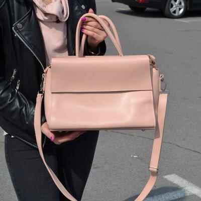 Красивая сумка-саквояж на длинной ручке, цвет пудра