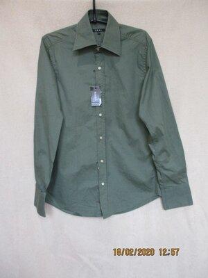 Рубашка с длинным рукавом приталенная/хаки/хлопковая