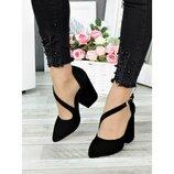 Туфли черные замша с ремешком