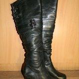 Сапоги женские зимние высокие ботфорды черные на каблуке натуральная кожа натуральный мех р. 38
