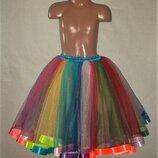 Эффектная яркая цветная юбка из фатина на выпускной размер универсальный