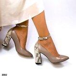 Туфли, натуральная кожа, с ремешком, латте
