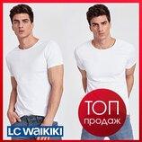 Белая мужская футболка LC Waikiki / Лс Вайкики с круглым вырезом