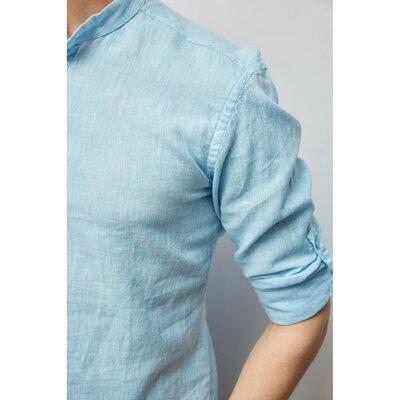 Рубашка мужская льняная на короткой застежке Figo 18018-1 с регулировкой рукава светло-синяя