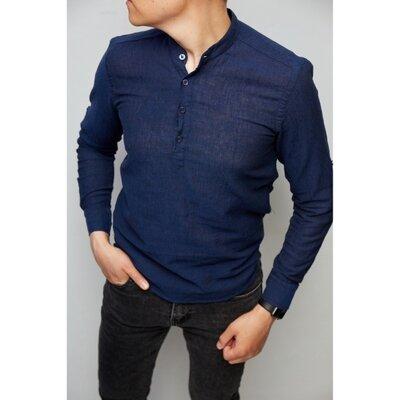 Рубашка мужская льняная на короткой застежке Figo 18018-2 с регулировкой рукава синяя