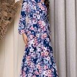 Платье миди с бантом рукавами фонарик софт принт цветы синий бежевый желтый серый пудра