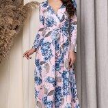 Платье миди софт принт цветы сиреневый пудра синий мята