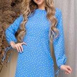 Платье весна лето с рукавами фонарик софт принт горох голубой пудра синий фисташка