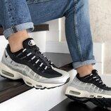 Nike 95 кроссовки мужские демисезонные серебряные с черным 9145