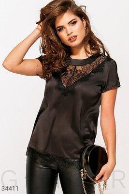 Шелковая блуза с кружевом 2цв. р. S-2XL.