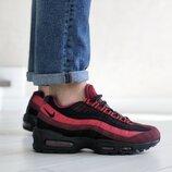 Nike 95 кроссовки мужские демисезонные бордовые с черным 9147