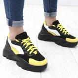 Новинка 2020 Кожаные кроссовки на высокой черной платформе, желтый, рыжий, красный, кроссовки кожа
