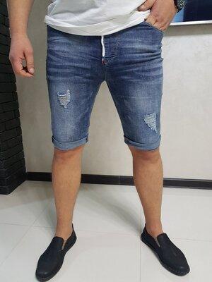 Стильные мужские джинсовые шорты, бриджи с подворотом, разные размеры 29, 30 рр