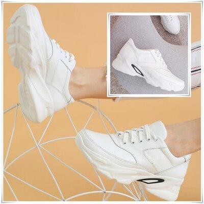 Базовые белые кожаные кроссовки на белой платформе, белые кроссовки кожа