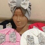 Модняча шапка-тюрбан чалма з бантиком для дівчаток.