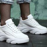 Новинка 2020 Белые кожаные кроссовки на высокой платформе, кроссовки кожа натуральная