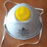 Респиратор защитная маска ffp2 клапан выдоха угольный фильтр Франция Deltaplus