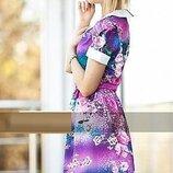 Платье летнее из тонкой ткани креп шифон цветочное, не светится . Практичное платье, р.44 код 5452М