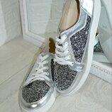 Слипоны , кеды натур кожа, паетки серебро 36-43р все цвета индивидуальный пошив