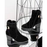 Ботинки деми натуральная замша чёрный з, р.36-41, Украина