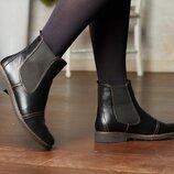 Ботинки челси натуральная кожа чёрный в, р.36-41, Украина