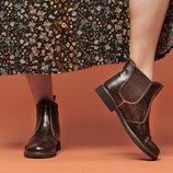 Ботинки челси натуральная кожа коричневый, р.36-41, Украина
