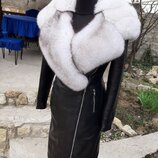 Куртка пальто из натуральной кожи и натуральным мехом финского песца