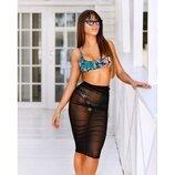 Черная пляжная юбка, парео из тонкой натуральной вискозы, one size