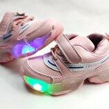 Детские светящиеся кроссовки с led подсветкой для девочки розовые 22р-37р y.top 3808