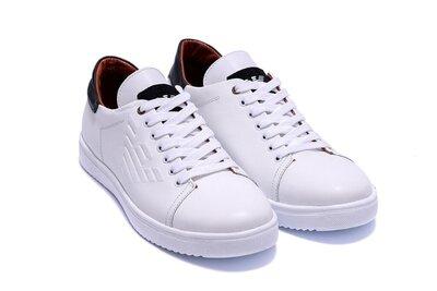 Туфли-Кеды мужские из натуральной кожи весна-осень белого цвета