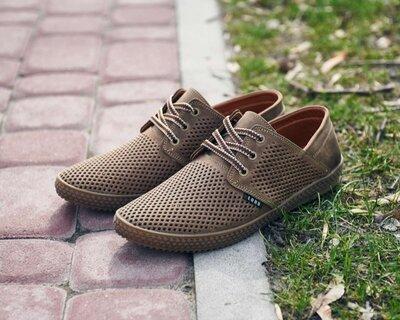 Кожаные мужские туфли бежевые перфорация 40.41.42.43.44.45