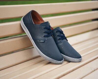 Кожаные мужские туфли model L сер перфорация 40.41.42.43.44.45