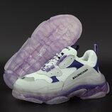 Женские кроссовки Balenciaga Triple S. Многослойная подошва. White Grey Violet.