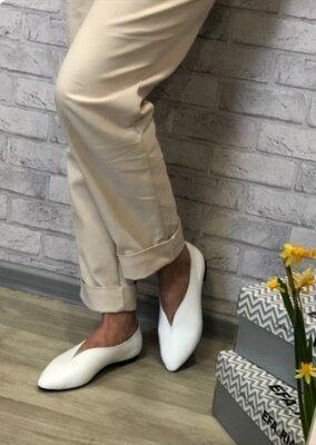 Женские кожаные замшевые белые чёрные остроносые туфли балетки Натуральная кожа замша